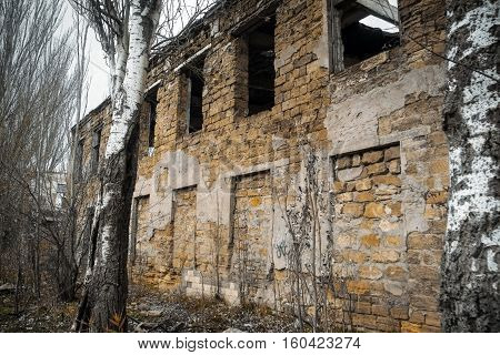 Ukraine Odessa area destroyed factory. Ruins of the destroyed building or premises.