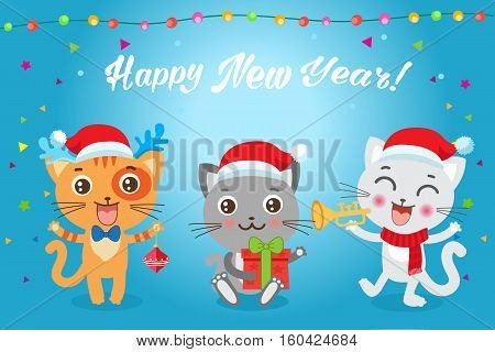Cute Little Cats Cartoon Vector Card. Christmas Kittens Vector. Cat In Christmas Costumes. Design For New Year Holiday Theme.