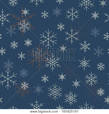 Christmas seamless pattern with snowflakes. Blue background for Christmas wallpaper. Seamless snowflake pattern. Vector illustration. Holiday design for Christmas and New Year fashion prints.