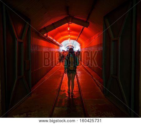 Balaklava, Crimea - September 2016: Red light corridor inside the Naval museum submarine complex, Crimea, Russia.