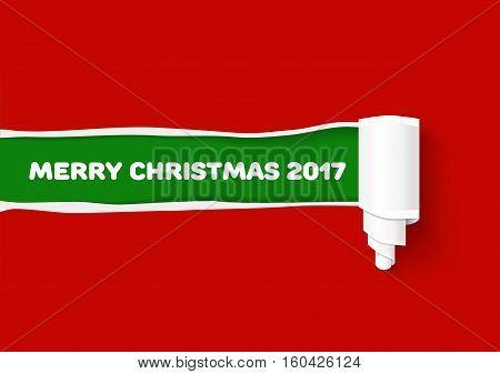 Hole in red paper with torn sides for Merry Christmas promo and advertising. Vector torn paper template. Green teared paper edge isolated on red background. Vector paper illustration