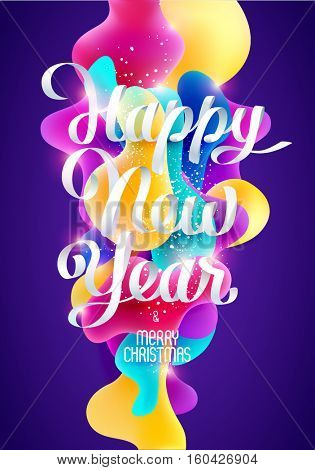 New Year's celebratory poster with calligraphic inscription and colorful background