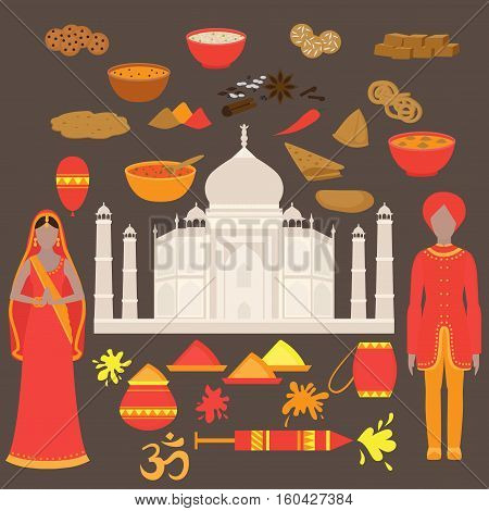 India set. Hinduism design elements. South Asia beautiful woman and man wearing indian traditional cloth. Taj Mahal Temple Landmark in Agra. Vedic cuisine set of vegetarian healthy food. Holi traditional festival of colours.