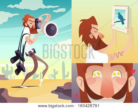 Red Photographer Cartoon Hunter. Vector illustration. Isolated in white background.