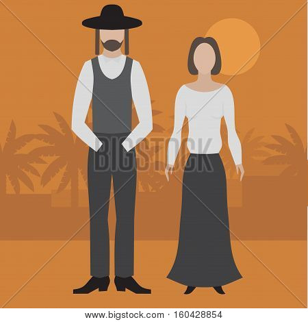 Orthodox jew man and woman. Flat judaism traditonal religious character.