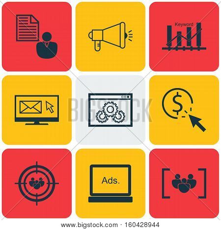 Set Of 9 Advertising Icons. Can Be Used For Web, Mobile, UI And Infographic Design. Includes Elements Such As Per, Keyword, Client And More.