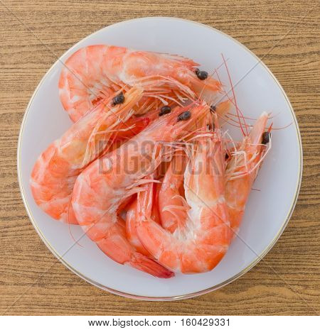Cuisine and Food Top View of Cooked Prawns or Tiger Shrimps in A White Plate.