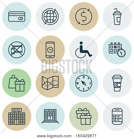 Set Of 16 Travel Icons. Can Be Used For Web, Mobile, UI And Infographic Design. Includes Elements Such As Map, Paralyzed, Date And More.