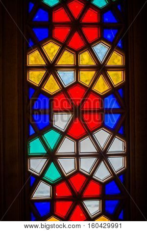 Bakchchisaray, Crimea, Russia - September 2016: Stained glass window in Bakhchisarai Palace