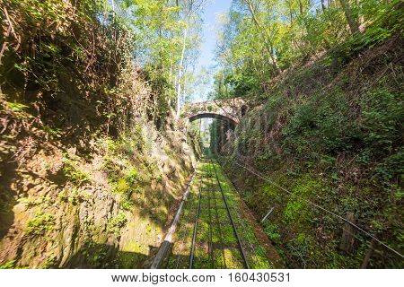 a funicular railway in Montecatini in Italy