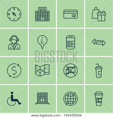 Set Of 16 Travel Icons. Can Be Used For Web, Mobile, UI And Infographic Design. Includes Elements Such As Pointer, Building, Transfer And More.