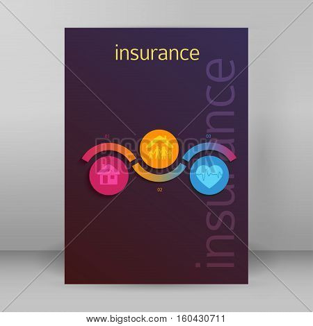 Modern Design style infographic template. Illustration of different kinds of insurance. Can be used for infographics and chart process the insurance company business service steps options
