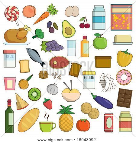 XXL collection of flat food and drink nutrition icons. Fruit and vegetables, dairy and grain products, meat, poultry and other icons for healthy nutrition balance.