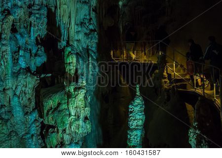 Crimea, Russia - September 2016. Speleothems in solutional karst cave. Emine-Bair-Khosar, Chather-Dag