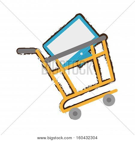 yellow shopping cart online computer sketch vector illustration eps 10