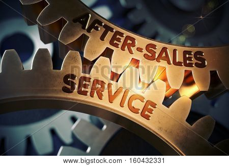 After-Sales Service on Mechanism of Golden Metallic Cogwheels with Glow Effect. After-Sales Service - Industrial Illustration with Glow Effect and Lens Flare. 3D Rendering.