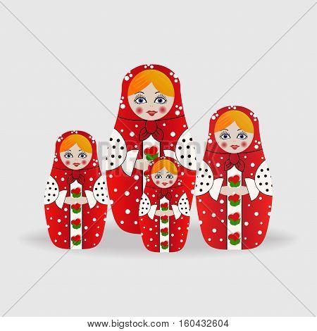 Russian dolls or matryoshka dolls. Vector illustration isolated on background