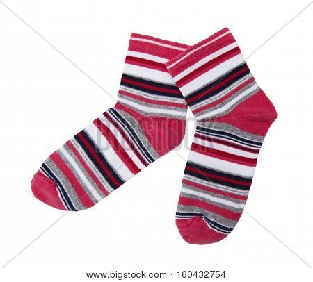 Cute striped socks isolated on the white background