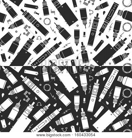 Vector seamless pattern for vape shop and vape service e-cigarette store. Wrapping paper pattern. Two choices of color combinations