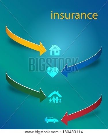 Design elements business presentation on circle arrow with icons insurance. Vector illustration EPS 10 for infographics style background business service insurance firm