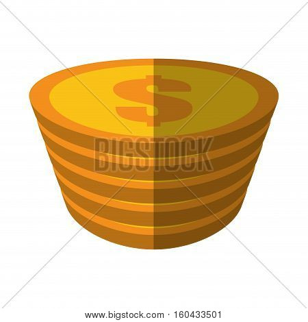golden coin pile dollar color shadow vector illustration eps 10