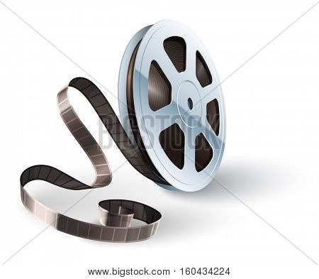 Movie cinematography video film disk with tape isolated for classic vintage cinema theatre. Vector illustration. On white background