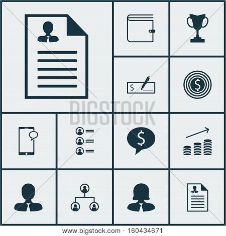 Set Of 12 Human Resources Icons. Can Be Used For Web, Mobile, UI And Infographic Design. Includes Elements Such As Mobile, List, Structure And More.