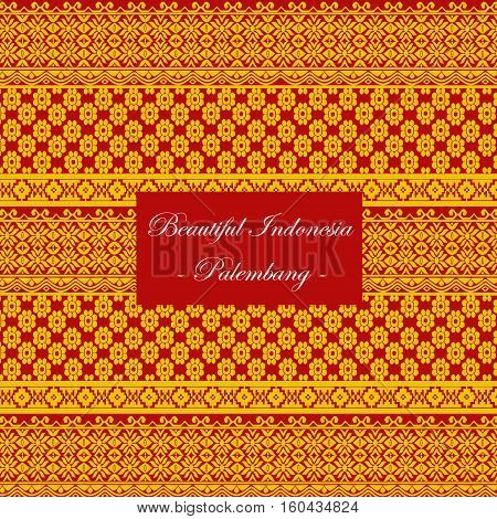 Palembang-Indonesia traditional seamless pattern vector on maroon background.