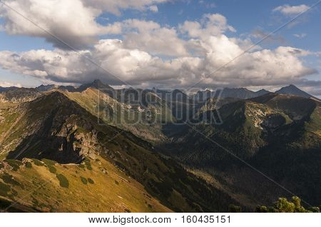 Amazing autumnal view of mountains in the afternoon. Tatry