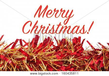 Christmas decoration on white background with Merry Christmas