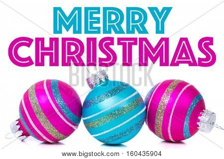 Christmas ornaments or baubles on white background with white