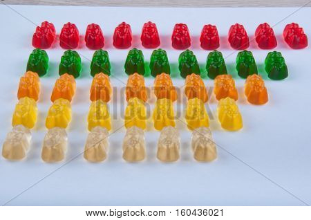 Lines of red green orange yellow gelatin sweets on white background