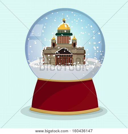 Christmas Snow globe with the falling snow and Saint Isaac's Cathedral in it. Vector illustration.Saint Petersburg