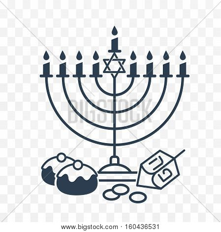 Vector illustration of happy Hanukkah . Judaism candelabrum symbol. Happy Hanukkah logo for greeting card template