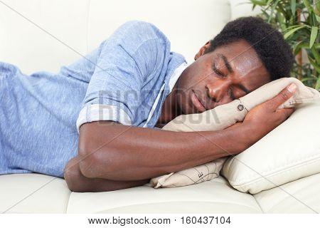 Sleeping black man.
