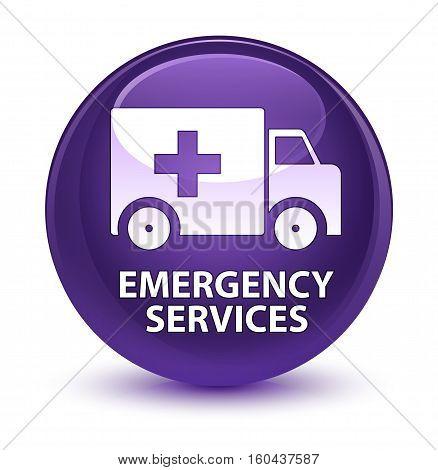 Emergency Services Glassy Purple Round Button