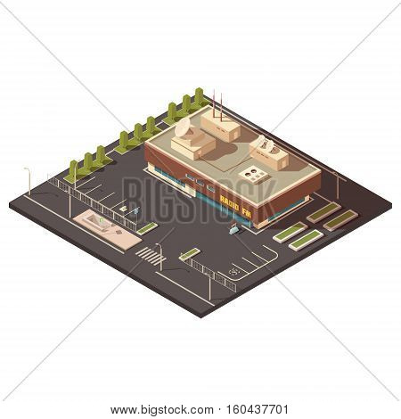 Radio center building concept with parking and equipment isometric vector illustration
