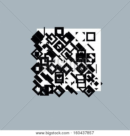 Vector geometric black and white composition abstract graphic art.