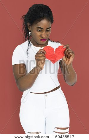 African Descent Woman Break Up Concept