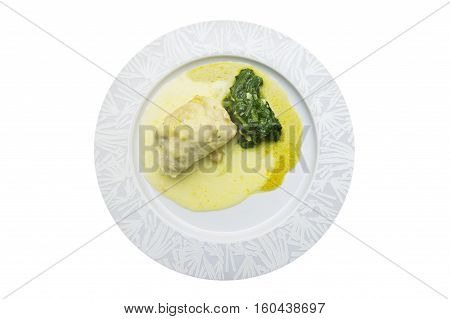 Meat with spinach isolated on the white background