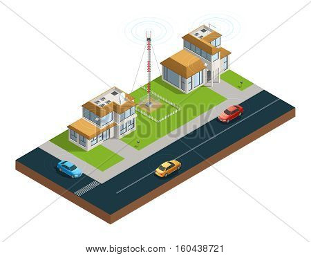 Isometric composition of town street with devices in houses tower and cars connected by wireless network vector illustration