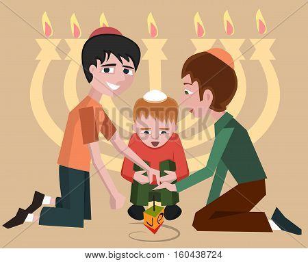 jewish kids with spinning top, hanukkah symbol - vector cartoon illustration