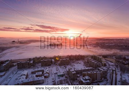 Kaliningrad, Russia - December 04 2016: Sunrise over the city of Kaliningrad in the early morning in winter view from above