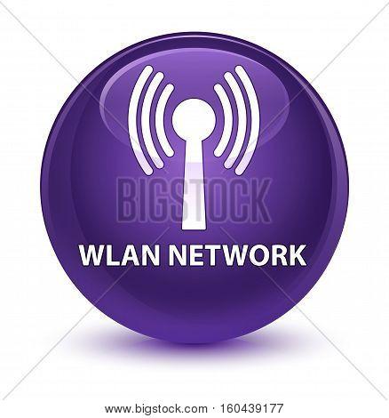 Wlan Network Glassy Purple Round Button
