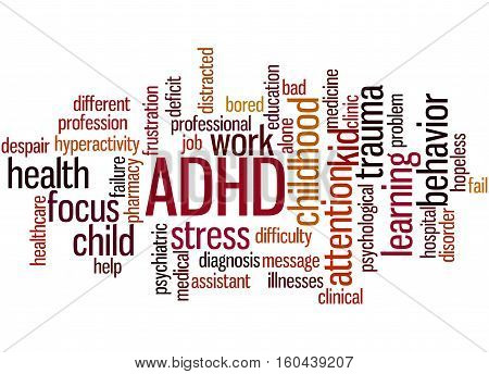 Adhd - Attention-deficit Hyperactivity Disorder, Word Cloud Concept