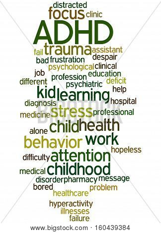 Adhd - Attention-deficit Hyperactivity Disorder, Word Cloud Concept 3
