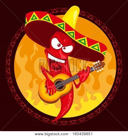 Mexican hot chili pepper incendiary plays guitar