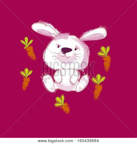 vector illustration of kiddy white bunny with carrot