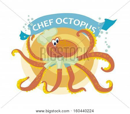 vector illustration of kiddy cook octopus with banner