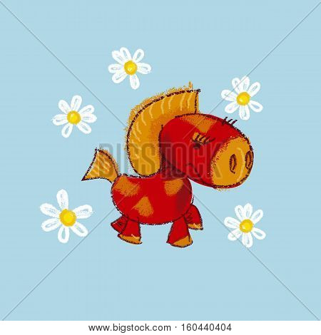 vector illustration of kiddy little red pony with daisy